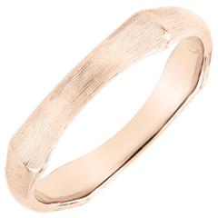 Jungle Sacrée wedding ring - 4 mm - brushed pink gold 18 carats