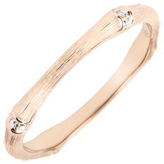 Jungle Sacrée wedding ring - Multi diamond 2 mm - brushed pink gold 18 carats