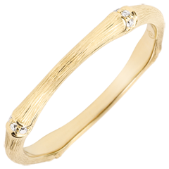 Jungle Sacrée wedding ring - Multi diamond 2 mm - brushed yellow gold 18 carats