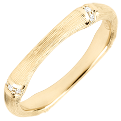 Jungle Sacrée wedding ring - Multi diamond 3 mm - brushed yellow gold 18 carats