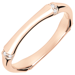 Jungle Sacrée wedding ring - Multi diamond 3 mm - pink gold 9 carats