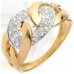 Kettingring - 18 karaat geelgoud met pavézetting - 24 Diamanten