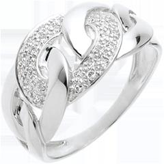 Kettingring Wit Goud betegeld - 24 Diamanten