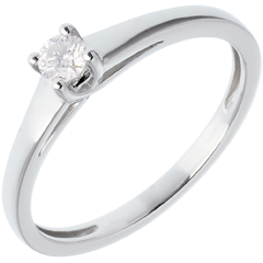 Klassischer Solitär Ring in Weissgold