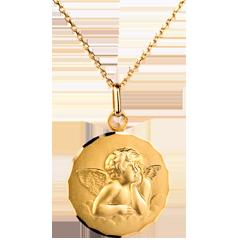 Klasyczny medalik z archaniołem Rafaelem w chmurach 20mm - złoto żółte 18-karatowe