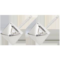 Kolczyki Geneza - Diamenty nieoszlifowane - złoto białe 18-karatowe