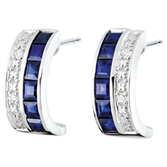 Kolczyki Konstelacja w kształcie kół - Zodiak - niebieskie szafiry i diamenty - złoto białe 18-karatowe