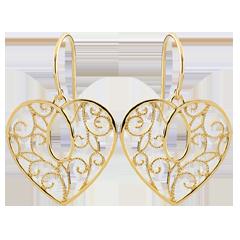 Kolczyki w kształcie serca Arabeski - złoto żółte 9-karatowe