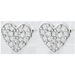 Kolczyki w kształcie serca Dita - złoto białe 9-karatowe