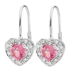 Kolczyki w kształcie serca Oczarowanie - topaz różowy - złoto białe 18-karatowe