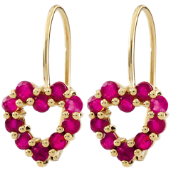 Kolczyki w kształcie serca Rosie - rubin - złoto żółte 9-karatowe