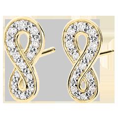 Kolczyki Nieskończoność - złoto żółte 9-karatowe i diamenty