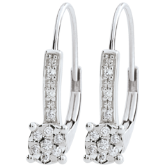 Kolczyki Wenecja - 20 diamentów - złoto białe 9-karatowe