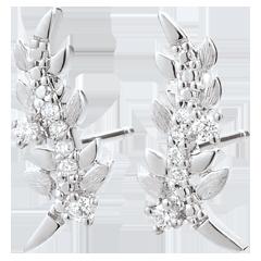 Kolczyki Zaczarowany Ogród - Królewskie Liście - złoto białe 9-karatowe i diamenty