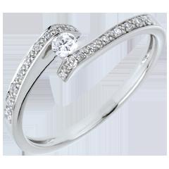 Kombinierter Solitärring Kostbarer Kokon - Versprochen - Weißgold - Diamant 0. 08 Karat