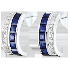 Kreolische Ohrringe - Himmelskörper - Sternzeichen - blaue Saphire und Diamanten - Weißgold 9 Karat
