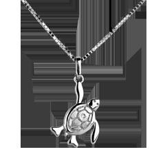 Mały żółwik - duży - złoto białe 9-karatowe