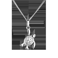 Mały żółwik - mały model - złoto białe 18-karatowe