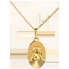 Medaglia Angelo di Raffaello - design moderno - Oro giallo - 18 carati