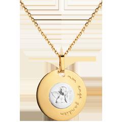 Medaglia Angelo di Raffaello - moderna - incisa 18mm - Oro bianco e Oro giallo - 18 carati