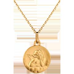 Medaglia con Angelo di Raffaello in cielo- Oro giallo - 18 carati -16 mm