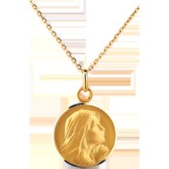 Medaglia con Madonnain preghiera- Oro giallo - 9 carati - 18mm