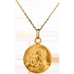 Medaglia Madonna con bambino- 16mm - Oro giallo - 18 carati