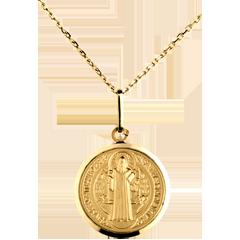 Medaglia San Benedetto - 16 mm - Oro giallo - 18 carati