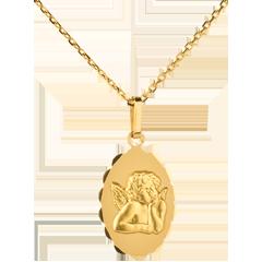 Médaille Ange Raphaël bord fleuri