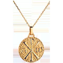 Médaille Chrisme 18mm - or jaune 18 carats