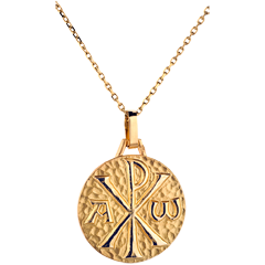 Médaille Chrisme 18mm - or jaune 9 carats
