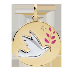 Médaille Colombe au rameau - Laque rose - 1 Diamant - 9 carats