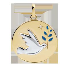 Medaille Duif en Olijftak - Blauwe Lak - 1 Diamant - 18 karaat witgoud en geelgoud