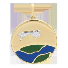 Médaille Une Etoile est née - Laque verte et bleue - 1 Diamant - 9 carats