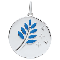 Medaille Olijftak - Blauwe Lak - 4 Diamanten - 9 karaat