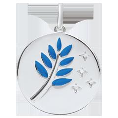 Médaille Rameau d'Olivier - Laque bleue - 4 Diamants - or blanc 9 carats