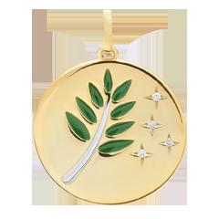 Médaille Rameau d'Olivier - Laque verte - 4 Diamants - 9 carats