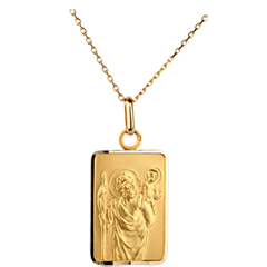 Médaille Saint Christophe modèle plaque - 9 carats