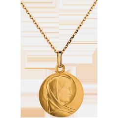 Médaille Vierge classique 15mm - or jaune 18 carats