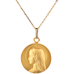 Médaille Vierge massive 20mm - or jaune 18 carats