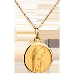 Médaille Vierge moderne à bord bombé 17mm - or jaune 18 carats