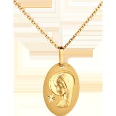 Médaille Vierge ovale à l'étoile - or jaune 18 carats
