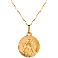 Medal of Angel Raphael and the clouds - 16mm - 9 carat