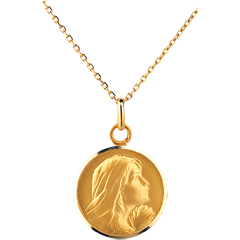 Medal Praying Mary 16mm - 9 carat