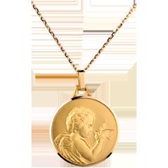 Medalik z aniołem niosącym ptaka 20mm - złoto żółte 18-karatowe