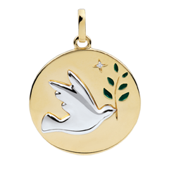Medalik Gołębica na gałęzi - Zielona laka - 1 diament - złoto białe i złoto żółte 18-karatowe