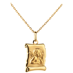 Medalion pergament Arhanghelul Rafael - aur galben de 18K