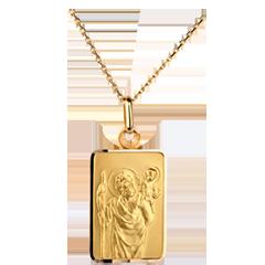 Medalion reprezentându-l pe Sfântul Cristofor model dreptunghiular - aur galben de 18K