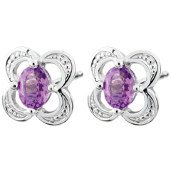 Mini Flora Amethyst Earrings