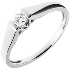 Modern Classic Solitaire Ring in White Gold - 0.14 carat